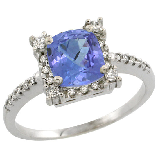 Trampoline Sale 55 8 11 12 13 14 15 17 X15 Oval: Buy 14K White Gold Natural Tanzanite Ring Cushion-cut