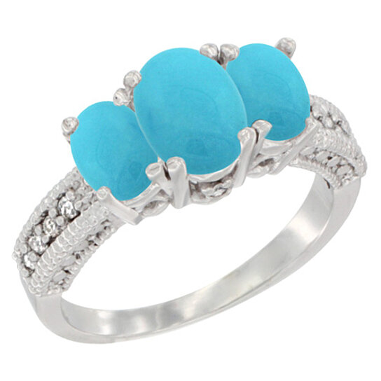 buy 14k white gold turquoise ring oval 3