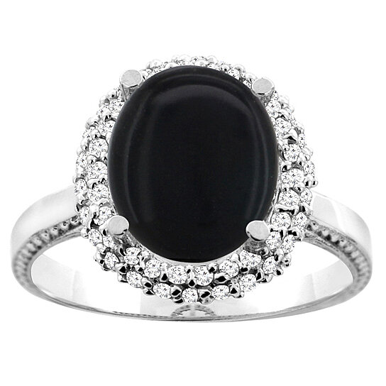 Trampoline Sale 55 8 11 12 13 14 15 17 X15 Oval: Buy 14K White/Yellow Gold Natural Black Onyx Double Halo