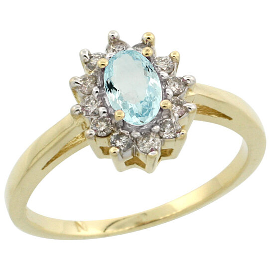 Trampoline Sale 55 8 11 12 13 14 15 17 X15 Oval: Buy 14K Yellow Gold Natural Aquamarine Diamond Flower Halo