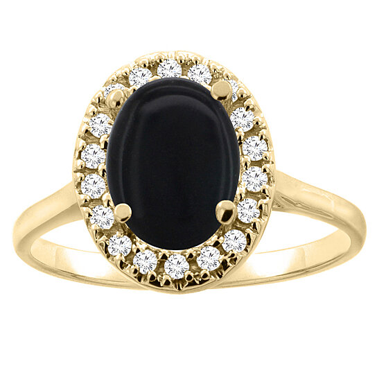 buy 14k yellow gold natural black onyx halo ring oval. Black Bedroom Furniture Sets. Home Design Ideas