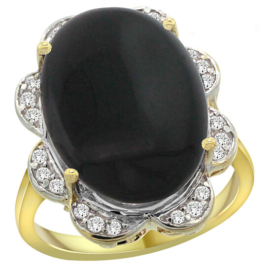 buy 14k yellow gold natural black onyx ring oval 18x13mm. Black Bedroom Furniture Sets. Home Design Ideas