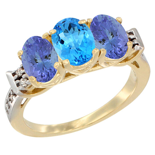 Trampoline Sale 55 8 11 12 13 14 15 17 X15 Oval: Buy 14K Yellow Gold Natural Swiss Blue Topaz & Tanzanite