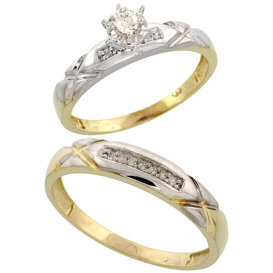 Buy Gold Plated Sterling Silver 2 Piece Diamond Wedding Engagement Ring Set f