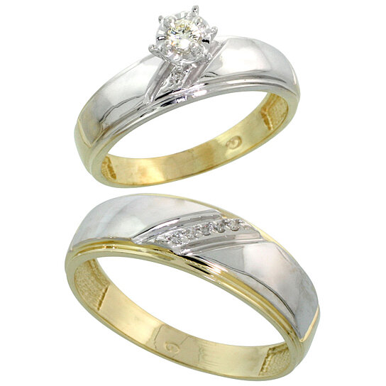 Buy gold plated sterling silver 2 piece diamond wedding for Diamond wedding ring for him