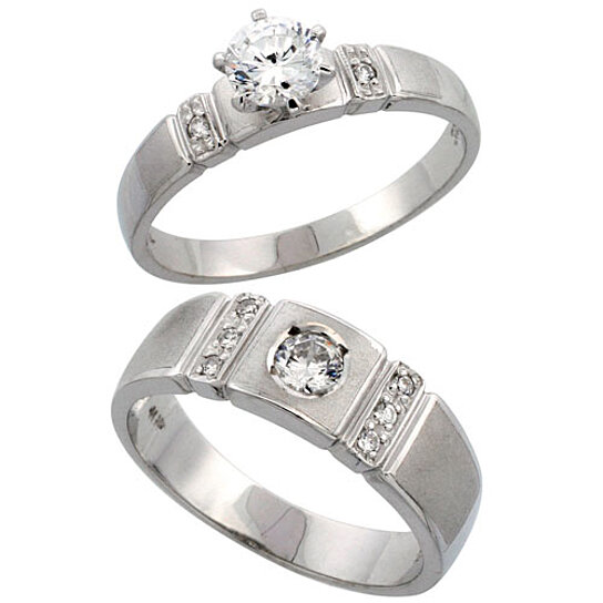 Buy Sterling Silver 2 Piece CZ Ring Set 4mm Engagement Ring & 7mm Man&
