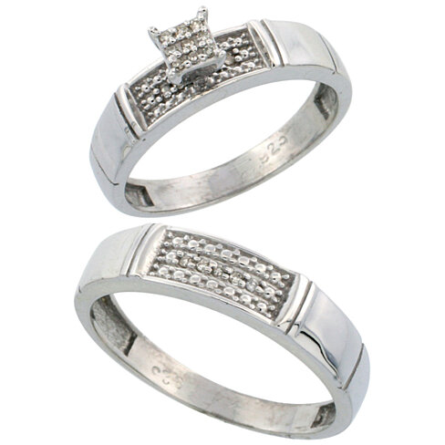 Buy Sterling Silver 2 Piece Diamond Wedding Engagement Ring Set For Him And Her Rhodium Finish