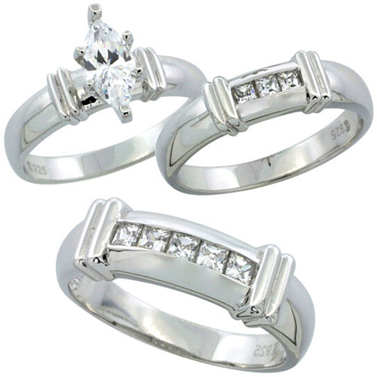 Buy Sterling Silver Cubic Zirconia Trio Engagement Wedding Ring Set for Him a