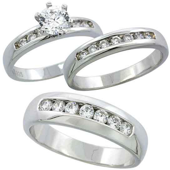 Buy Sterling Silver Cubic Zirconia Trio Engagement Wedding Ring Set For Him And Her 6 Mm Classic