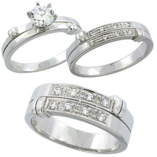 Wedding Rings For Her: Buy Sterling Silver Cubic Zirconia Trio Engagement Wedding