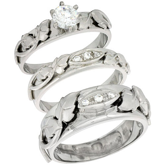 Wedding Band Sets For Him And Her: Buy Sterling Silver Cubic Zirconia Trio Engagement Wedding