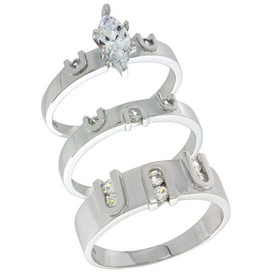Buy Sterling Silver Cubic Zirconia Trio Engagement Wedding Ring Set For Him And Her Mens Band