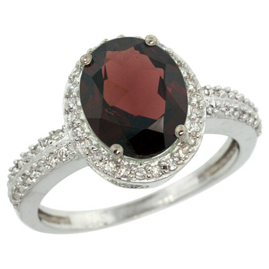 Trampoline Sale 55 8 11 12 13 14 15 17 X15 Oval: Buy Sterling Silver Diamond Natural Garnet Ring Oval