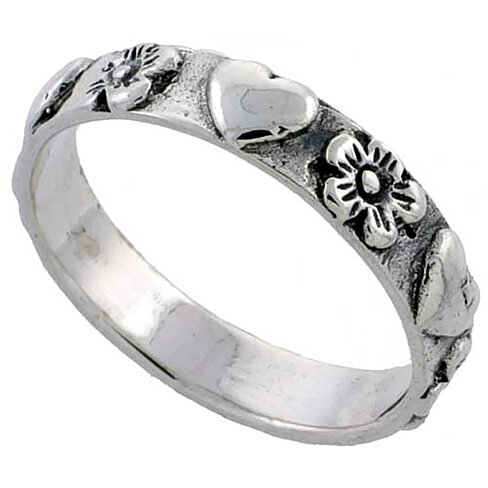 buy sterling silver linked hearts flowers ring wedding