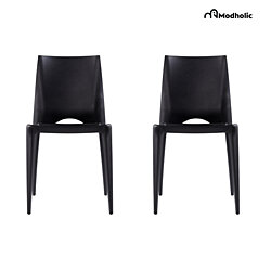Modholic Bellini style Square Side Dining Chair Black Set of 2