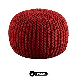 Modholic Round Knitted Ottoman Pouf Red Set Of 2