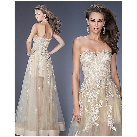 Buy new women sexy formal party dress strapless lace for Plus size wedding dresses online usa