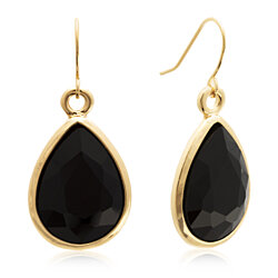 18 Carat Pear Shape Black Onyx Crystal Earrings, Gold Overlay