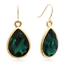 18 Carat Pear Shape Emerald Crystal Earrings, Gold Overlay
