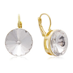 30 Carat Diamond Crystal Earrings, Gold Overlay