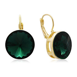 30 Carat Emerald Crystal Earrings, Gold Overlay