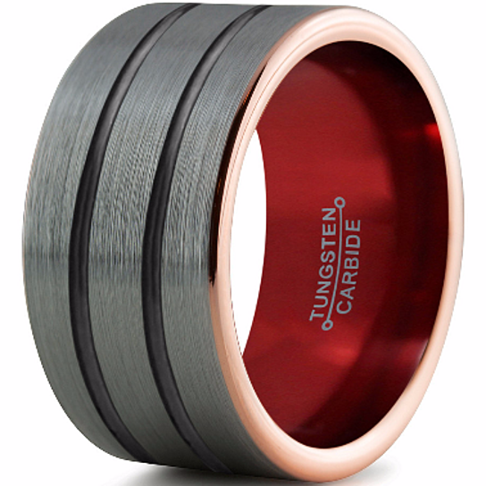 Buy 12mm,10mm,8mm,6mm,Red Black Tungsten Wedding Band