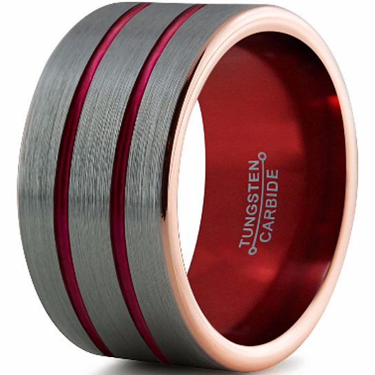 Buy 12mm,10mm,8mm,6mm,Red Tungsten Wedding Band,Brushed