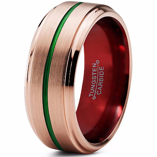 Buy Brushed Mens Tungsten Wedding Band,18k Rose Gold,Red