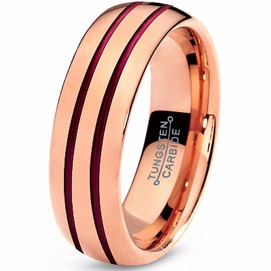 Buy Tungsten Ring 18k Rose Gold Red Wedding Band Tungsten