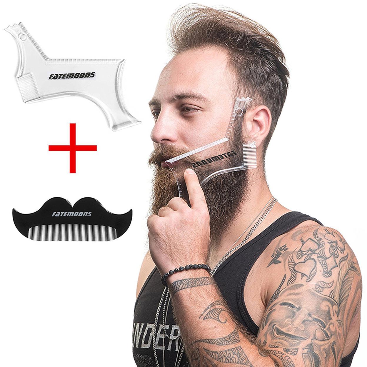 Beard Shaping Tool Template Perfect Hairline Perfect Symmetrical Multi-curve Beard Mustard Flexible Tool with Free Beard Comb 59e5c2155078a8698b0f1915