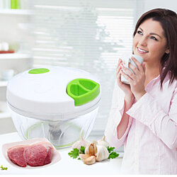 Manual Food Chopper Hand-Powered Food Processor with 3 Blades for Vegetables/Fruits/Herbs/Salsa/Salad/Puree