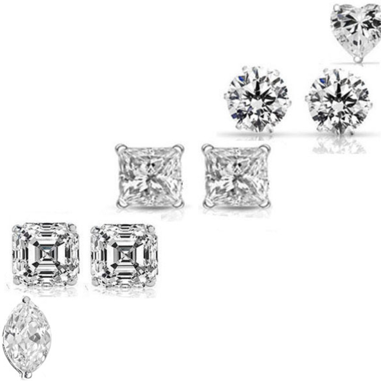 10.00 Cttw Set Of 5 Swarovski Elements Crystal Studs In Sterling Silver