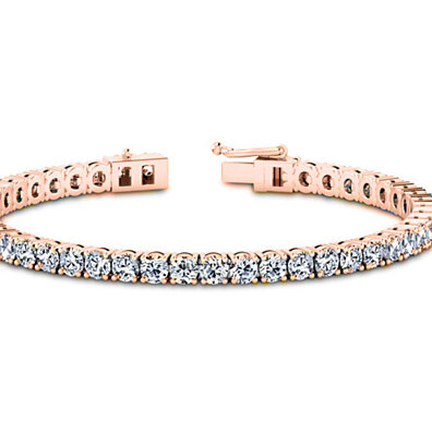 11.00 CTTW Round Cut Tennis Bracelet in 28k Rose Gold