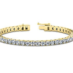 11.00CTTW Round Cut Tennis Bracelet in 18k Gold