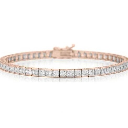 12.00 CTTW Princess Cut Tennis Bracelet in 18K Rose Gold