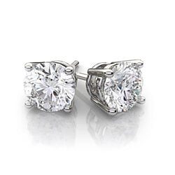 Solid 14K White Gold Earrings with Swarovski Elements Crystals (Multiple Sizes)