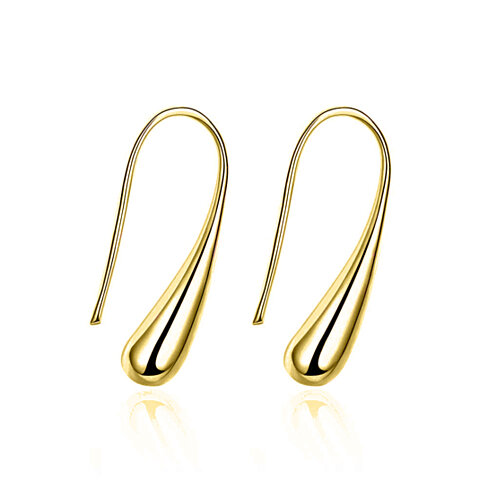 18K Yellow Gold Sterling Silver Water Drop Earrings