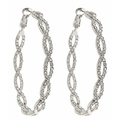 18kt Gold or White Gold Plated Swarovski Elements Crystal Infinity Hoops
