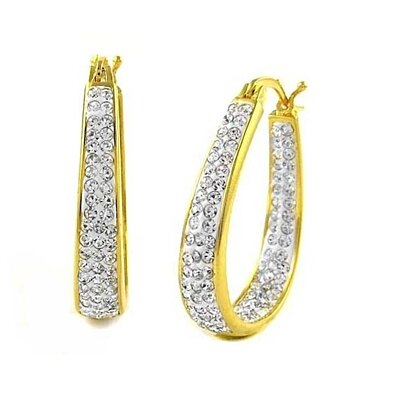 White Graduated Swarovski Elements Crystal Hoops In 18Kt Gold