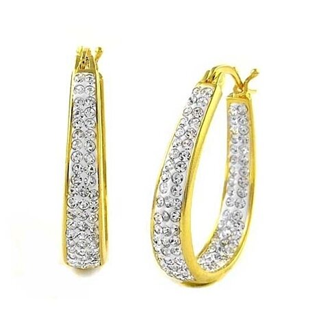 18k Gold Swarovski Elements Crystal Special Occasion Hoops
