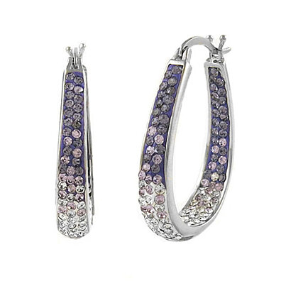 Amethyst Graduated Swarovski Elements Crystal Hoops in 18Kt White Gold
