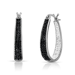 2.00CT Swarovski Crystal Double Studded Hoop Earrings