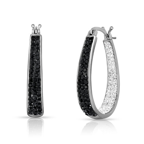 Black And White Swarovski Elements Crystal Hoops in 18Kt White Gold