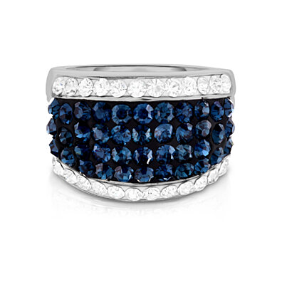 18Kt White Gold Plated Crystal Cocktail Ring