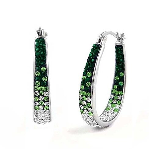 Emerald Green Graduated Swarovski Elements Crystal Hoops in 18kt White Gold