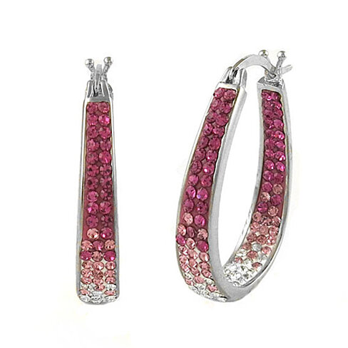 Pink Graduated Swarovski Elements Crystal Hoops In 18Kt White Gold