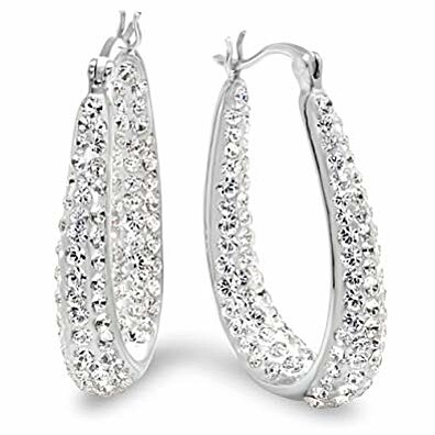 Swarovski Elements Crystal Hoops, 18K Gold Plated