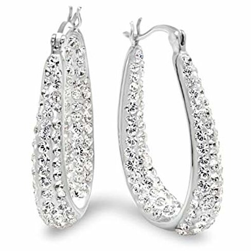 18K White Gold & Swarovski Element Crystal Hoop Earrings