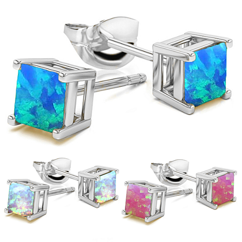 2.00 CTTW Fire Opal Square Cut Studs in 3 Colors