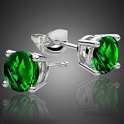 2.00 CTTW Emerald Stud Earrings Set in Sterling Silver